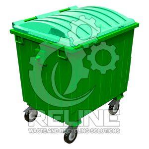 Бак сміттєвий металевий 1100л з пластиковою подвійною кришкою